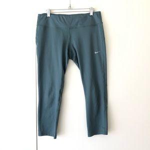 Nike Dri-fit Green Cropped Running Yoga Leggings